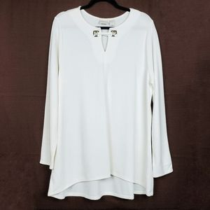 CHICO'S Ivory Gold Hardware Long Sleeve Tunic Top